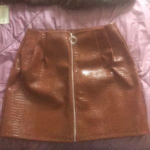 PLT brown croc effect mini skirt faux leather
